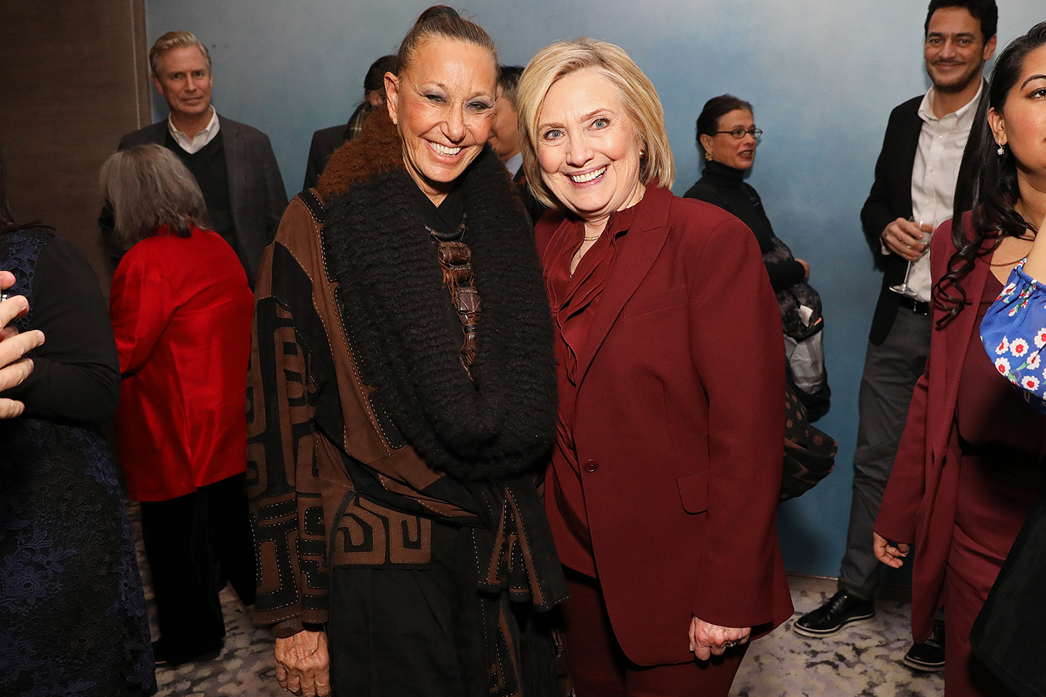 """Donna Karan and Hillary Rodham Clinton attend the after party for Hulu's """"Hillary"""" NYC Premiere on March 04, 2020 in New York City"""