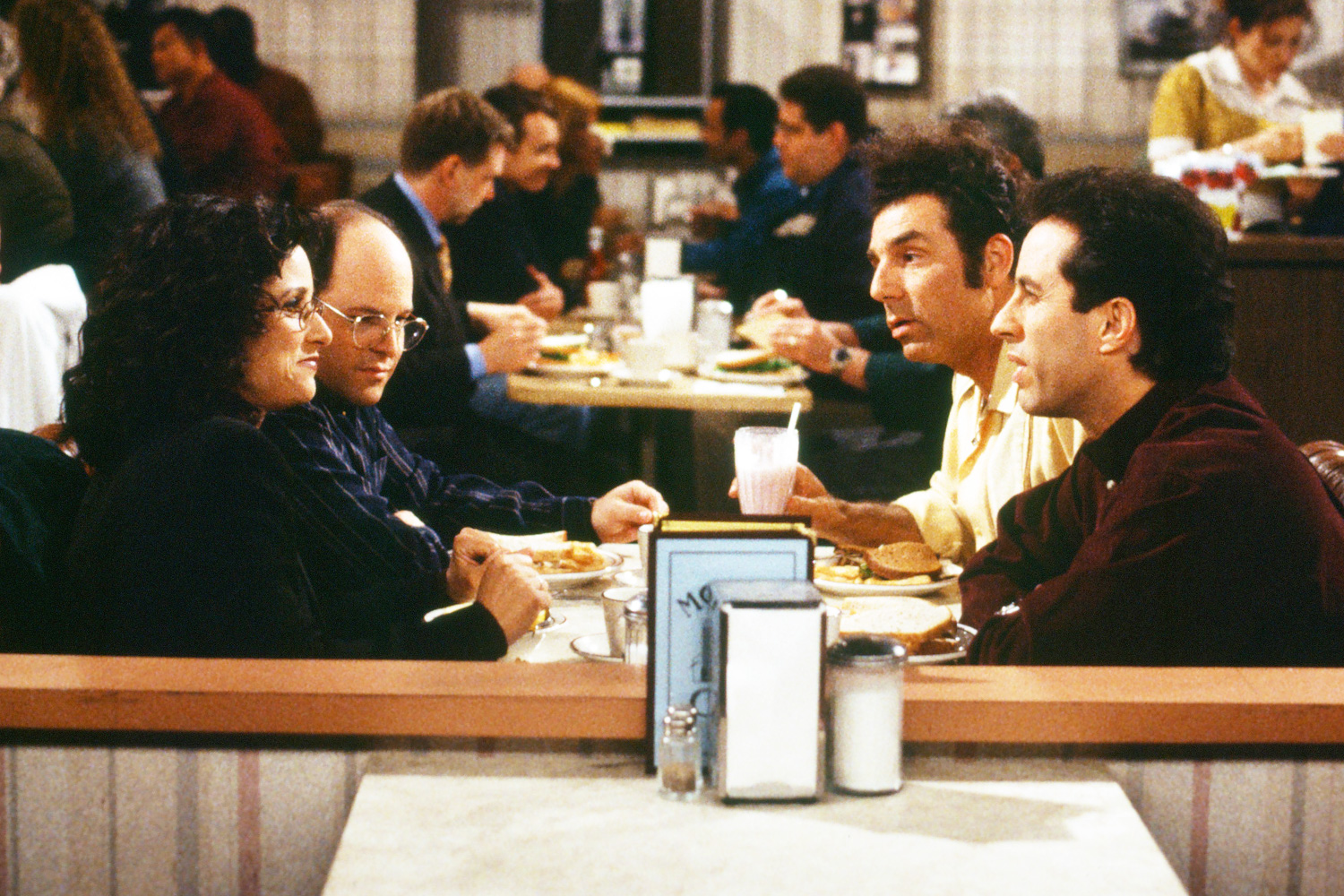 "SEINFELD -- ""The Finale: Part 1&2"" Episode 23 & 24 -- Pictured: (l-r) Julia Louis-Dreyfus as Elaine Benes, Jason Alexander as George Costanza, Michael Richards as Cosmo Kramer, Jerry Seinfeld as himself"