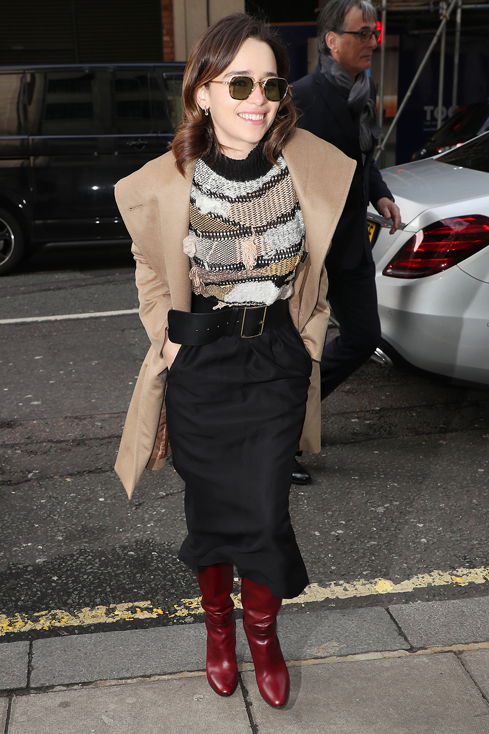 Emilia Clarke arriving at BBC Radio 2 on March 03, 2020 in London, England