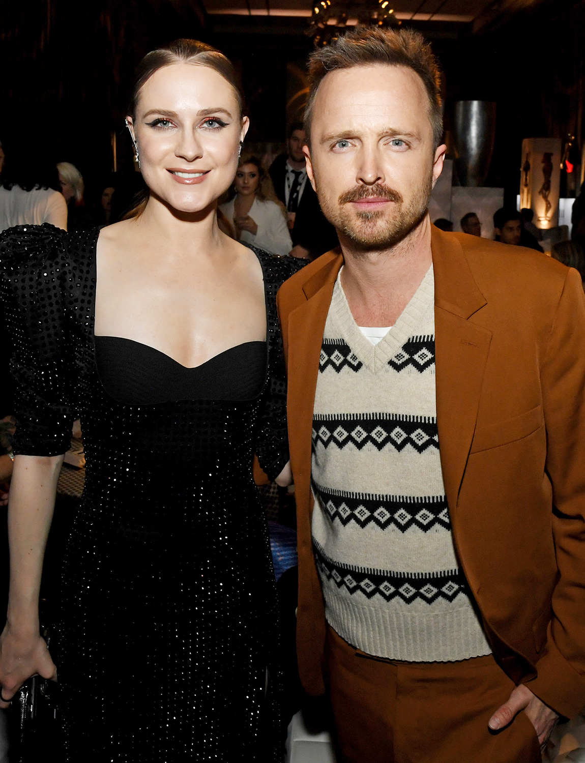 "Evan Rachel Wood (L) and Aaron Paul pose at the after party for the premiere of HBO's ""Westworld"" Season 3 at the Dolby Ballroom on March 05, 2020 in Hollywood, California"