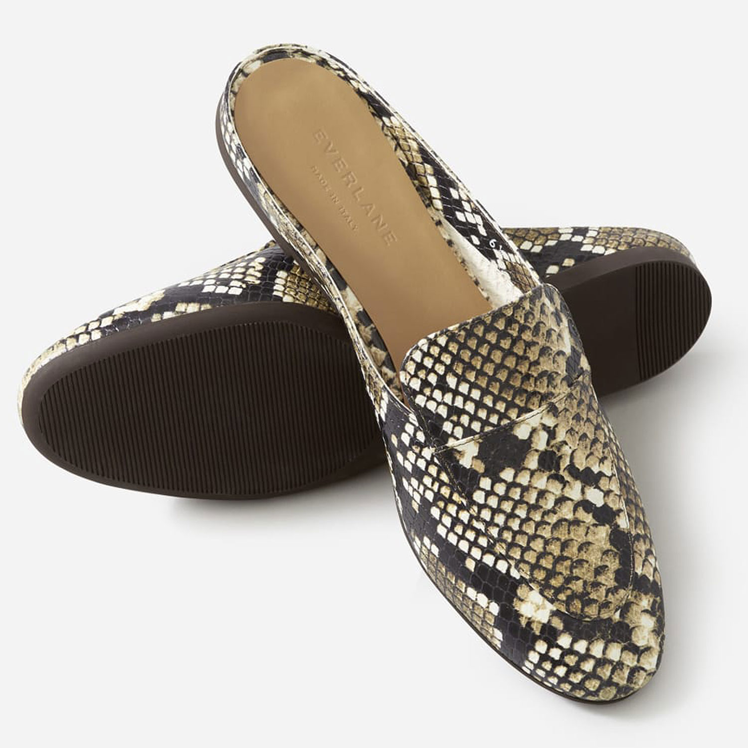 Everlane The Day Loafer Mule in Embossed Snake