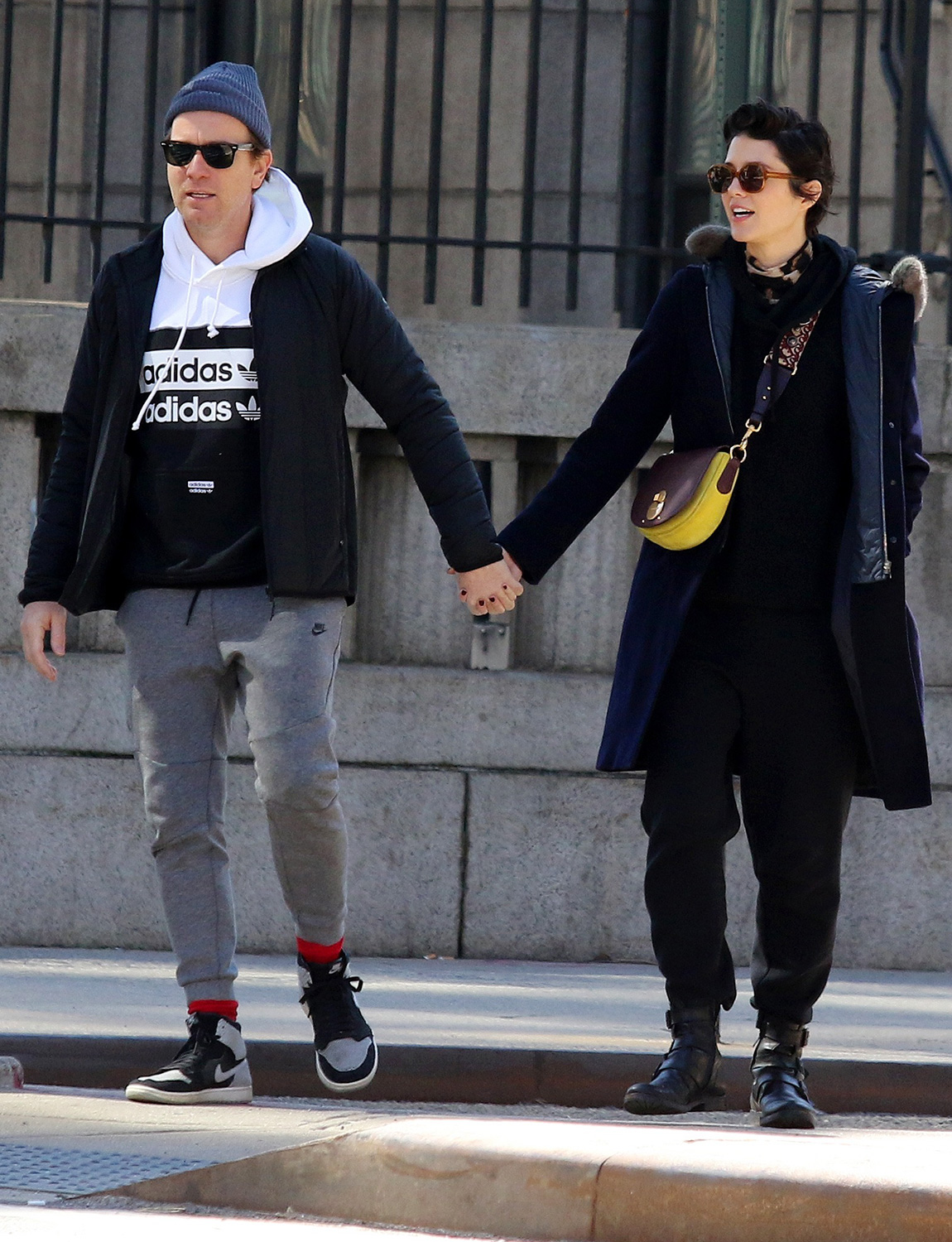 Ewan McGregor and girlfriend Mary Elizabeth Winstead share some PDA moments together on a romantic day out in Manhattan's Soho area