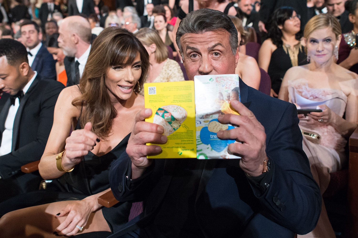 Jennifer Flavin and Oscar-nominee Sylvester Stallone during the live ABC Telecast of The 88th Oscars® at the Dolby® Theatre in Hollywood, CA on Sunday, February 28, 2016.