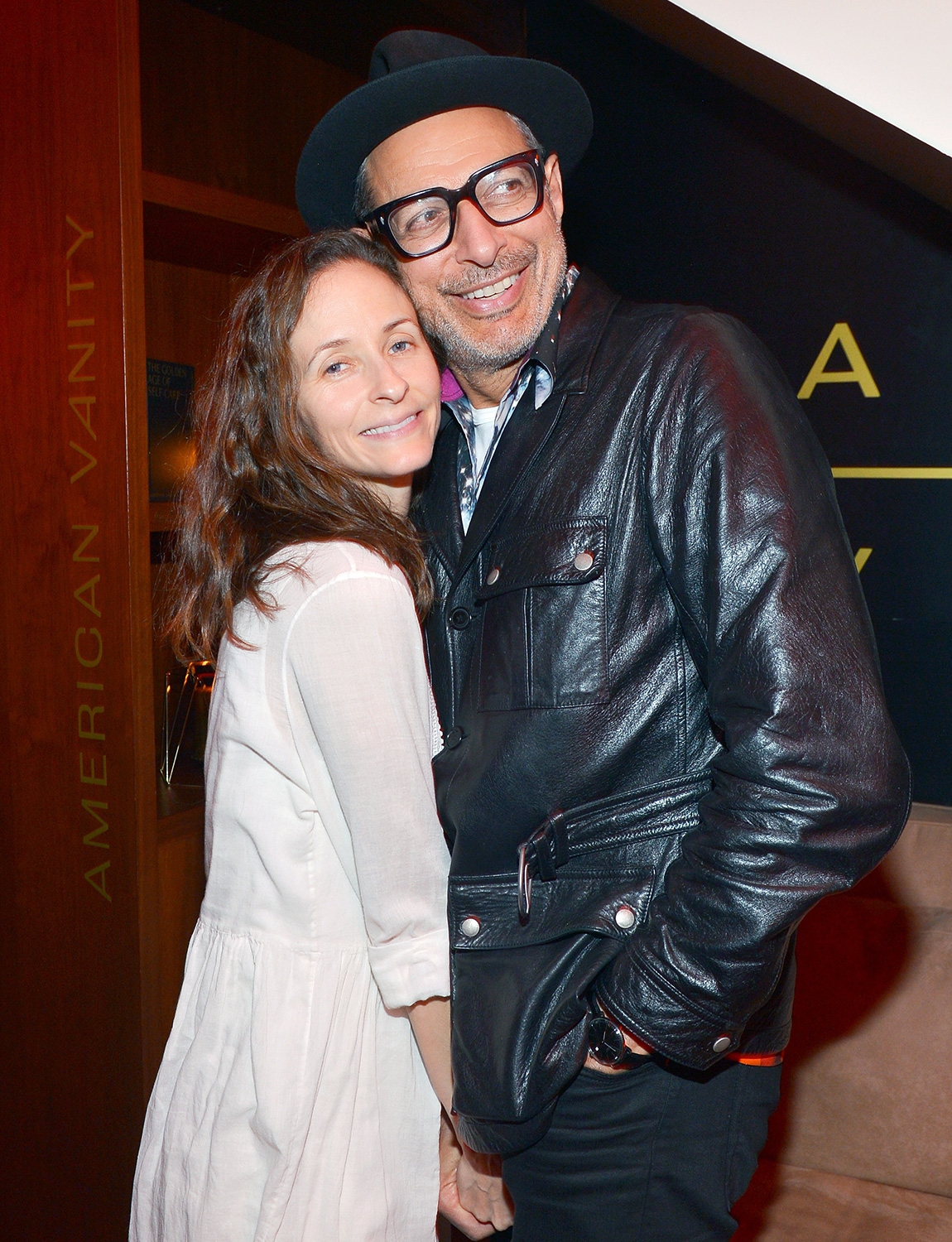 Emilie Livingston and Jeff Goldblum attend the American Vanity Skincare Launch Party at Sunset Tower on March 04, 2020 in Los Angeles, California