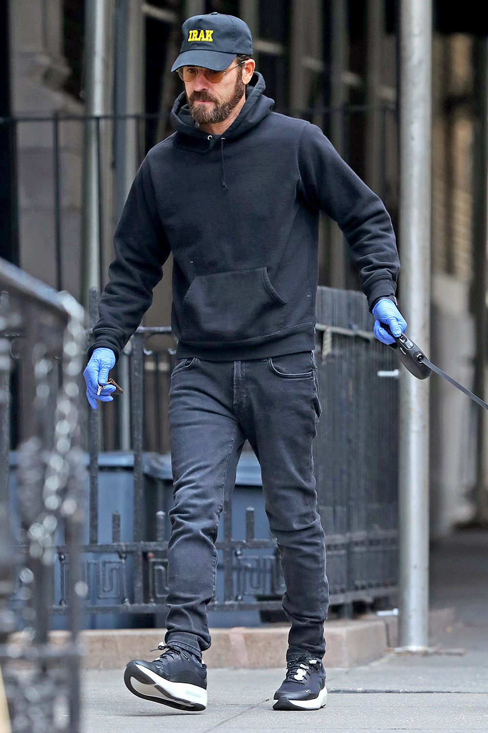 Justin Theroux steps out for a dog walk in New York City