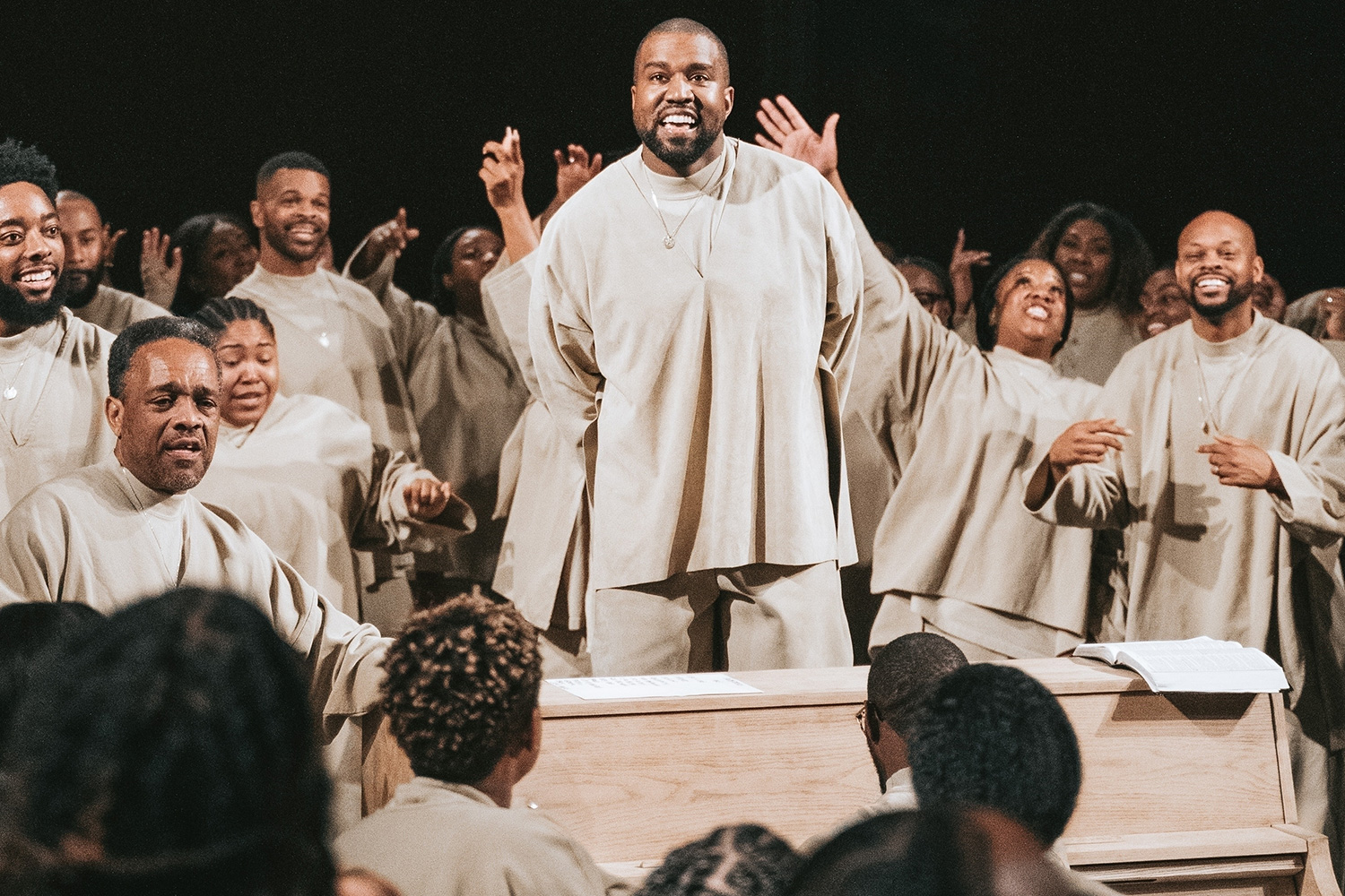 "Kanye West is seen performing during his famous ""Sunday Service"" at the Théâtre des Bouffes du Nord in Paris"
