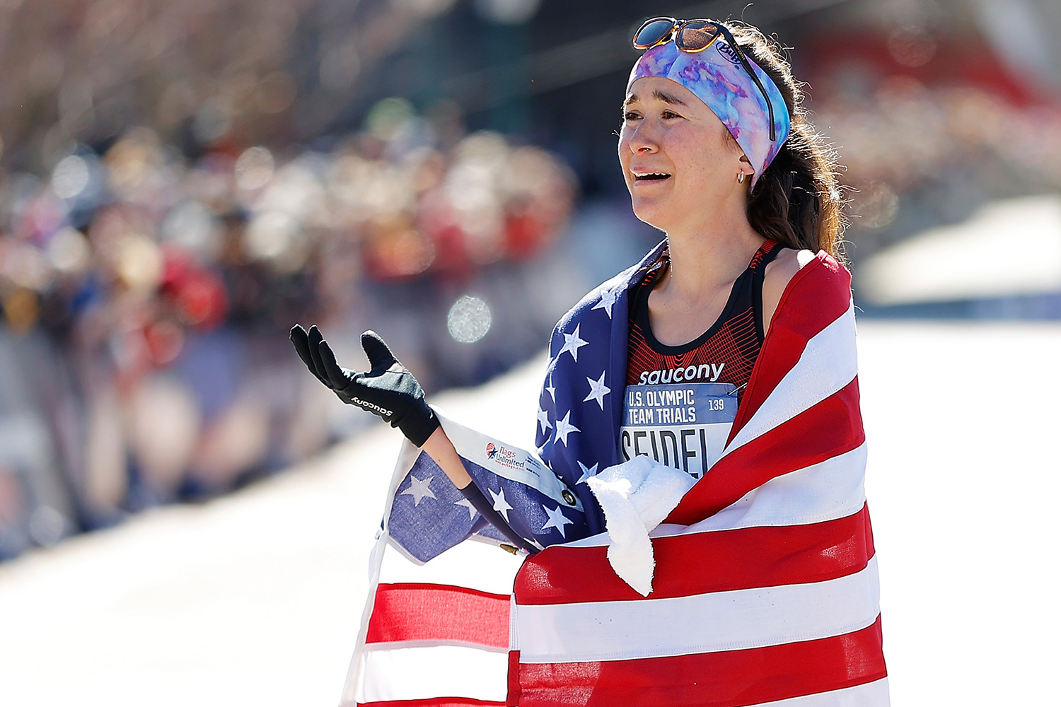Molly Seidel reacts after finishing second in the Women's U.S. Olympic marathon team trials on February 29, 2020 in Atlanta, Georgia
