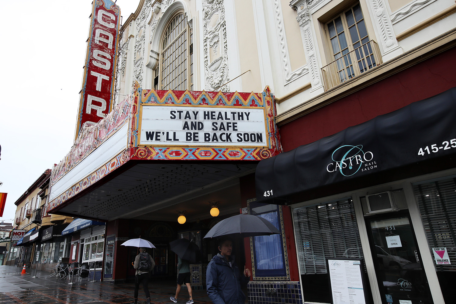 Castro Theatre that has a marquee announcing that they are closed due to a statewide ordinance banning gatherings of more than 250 people on March 15, 2020 in San Francisco, California