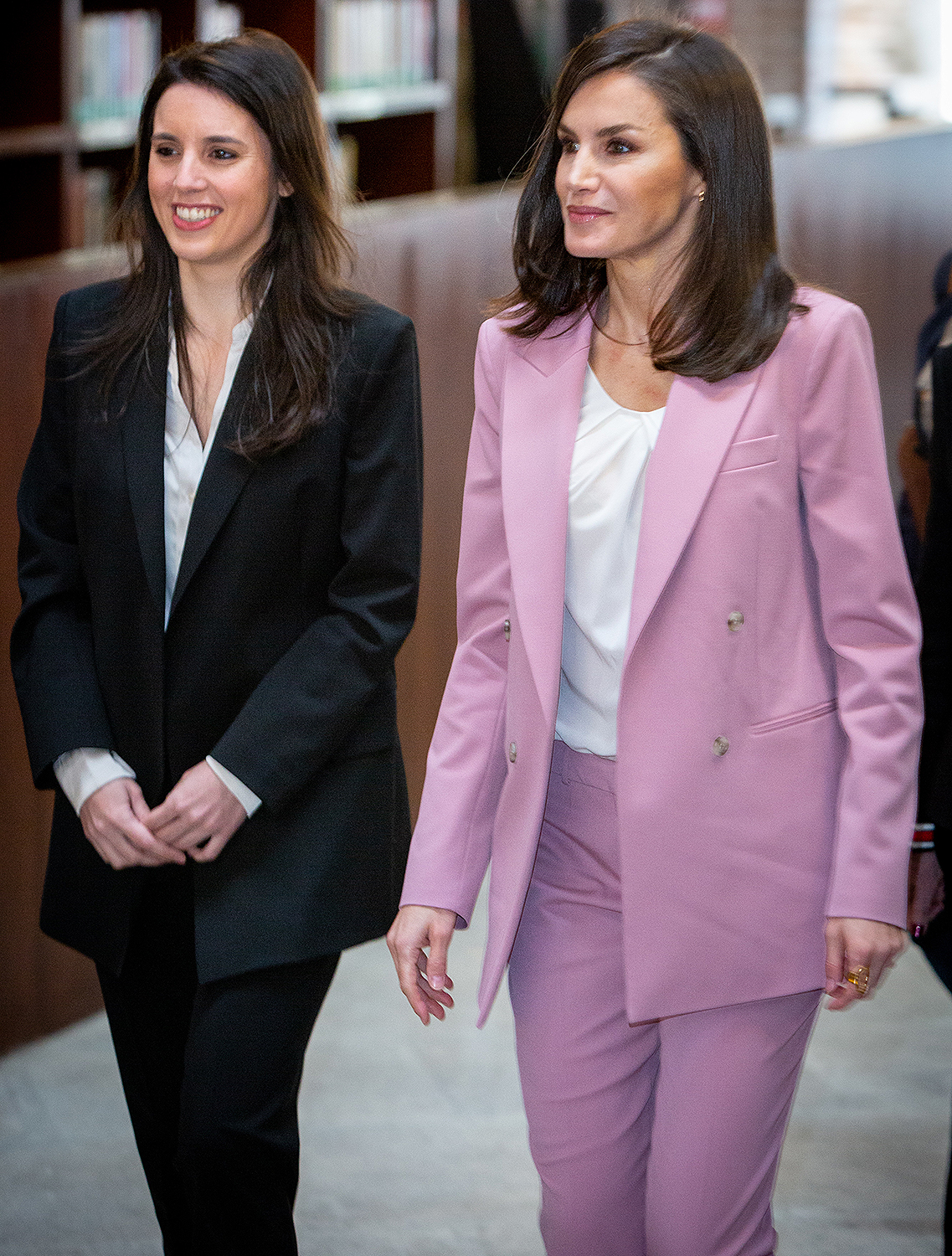 Minister of Equality, Irene Montero and Queen Letizia of Spain
