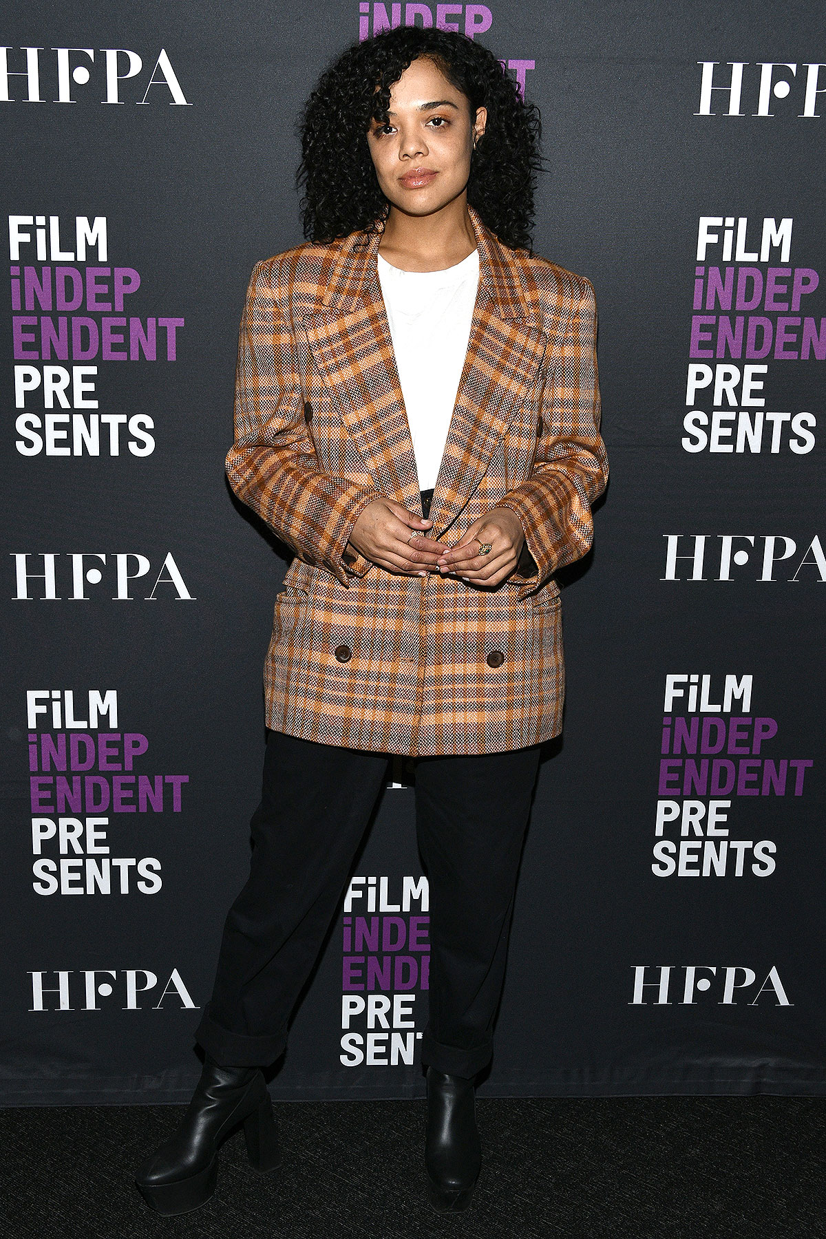"""Tessa Thompson at the Film Independent screening series presents a live read of """"Eternal Sunshine Of The Spotless Mind"""" at DGA Theater on March 04, 2020 in Los Angeles, California."""