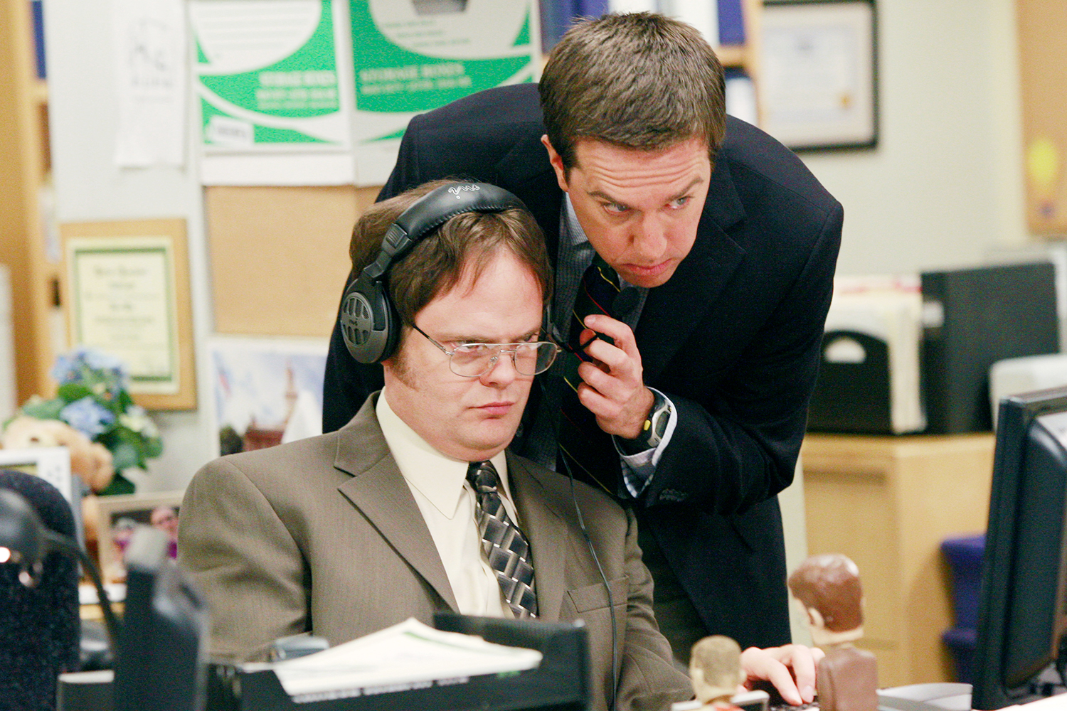"THE OFFICE -- ""Local Ad"" Episode 5 -- Aired 10/25/2007 -- Pictured: (l-r) Rainn Wilson as Dwight Schrute and Ed Helms as Andy Bernard"