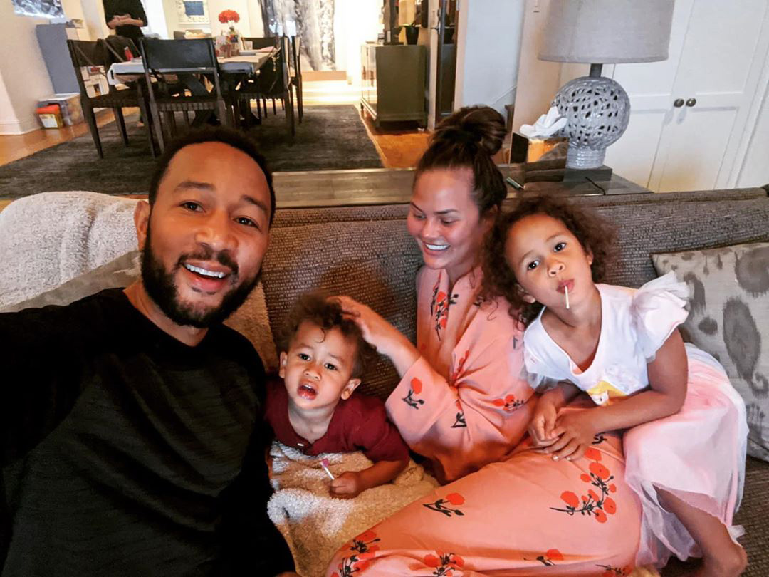 John Legend, Chrissy Teigen, Miles, and Luna