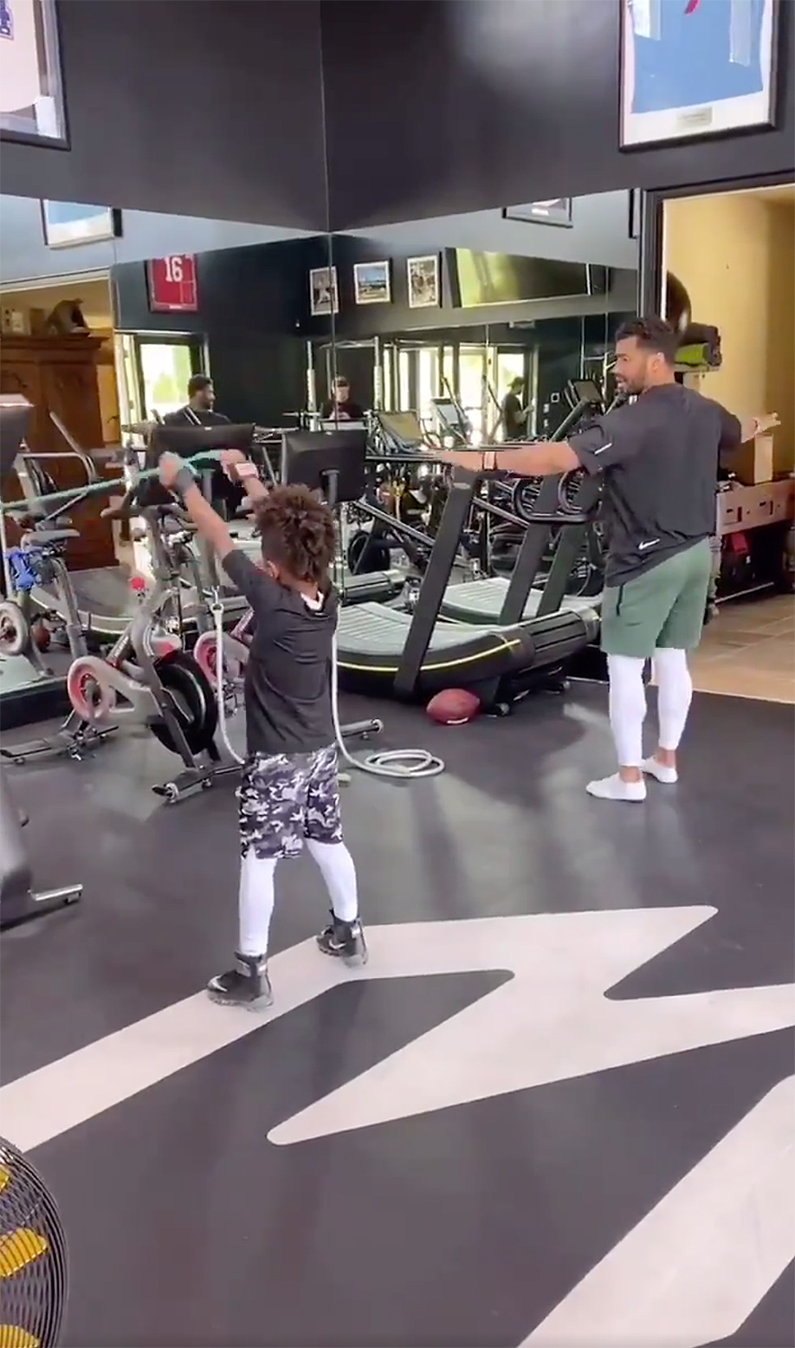 Russell Wilson Shares His At-Home Workout with 'QB in the Making' Future Zahir: 'The Best Teammate'
