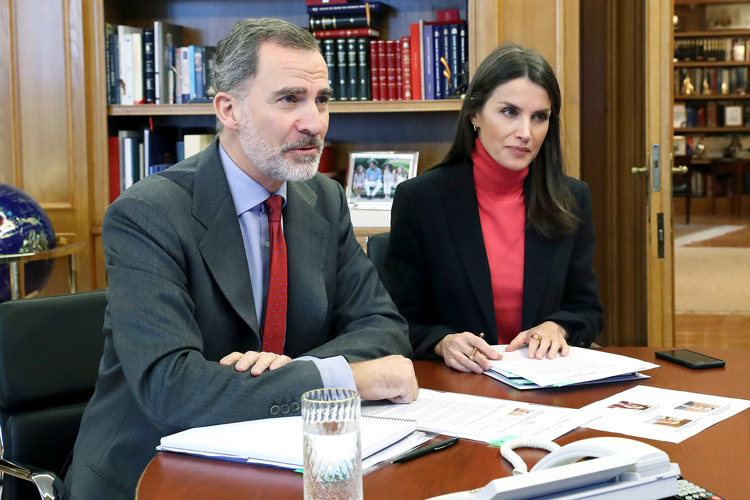 King Felipe VI of Spain, Queen Letizia of Spain attend video conference with a group of merchants from Oviedo at Zarzuela Palace on March 31, 2020 in Madrid, Spain