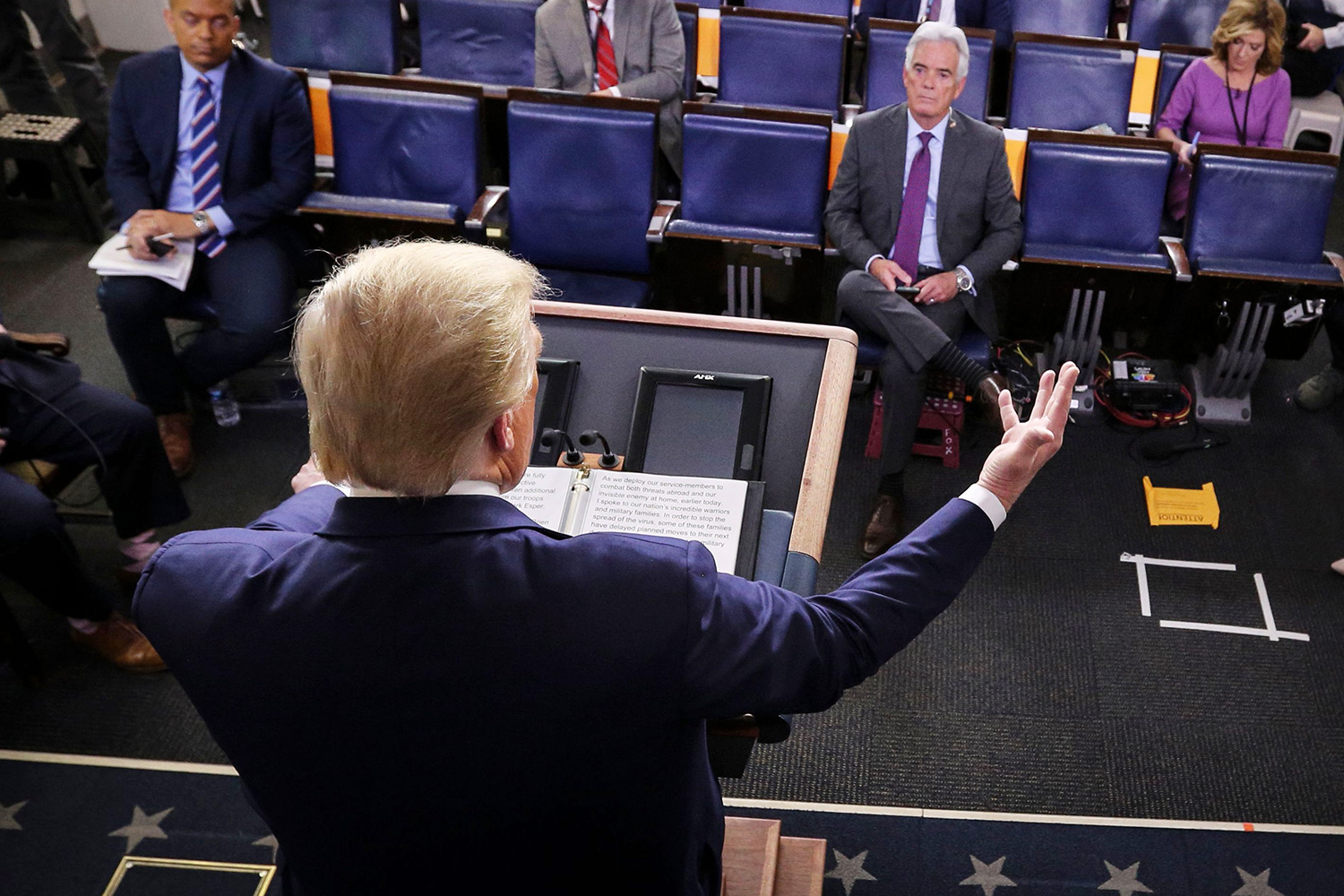 Donald J. Trump speaks during the daily briefing on the novel coronavirus, COVID-19, in the Brady Press Briefing Room of the White House in Washington, DC.