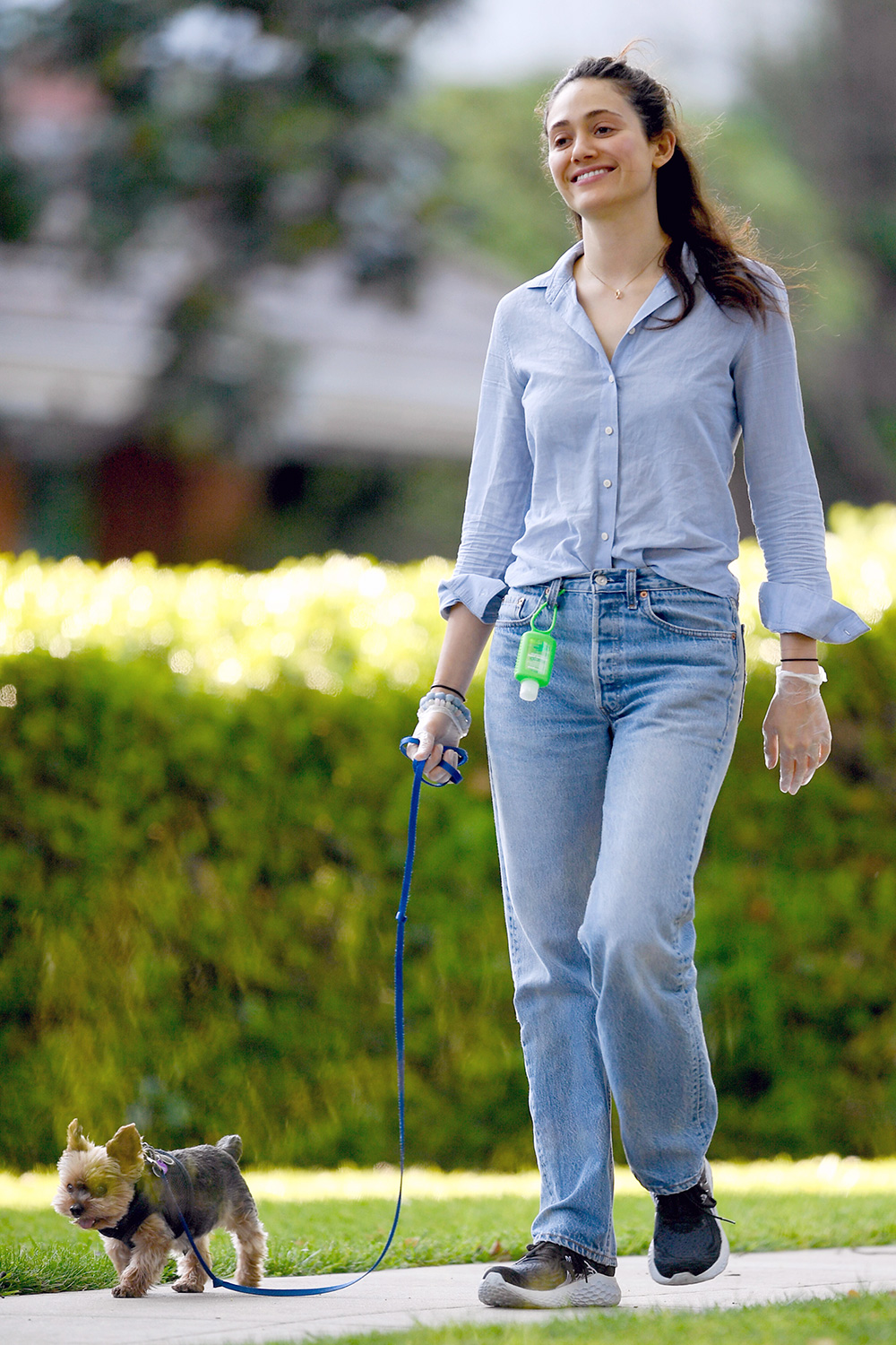 Emmy Rossum and Sam Esmail Wear Rubber Gloves While Walking Their Dogs in Los Angeles.