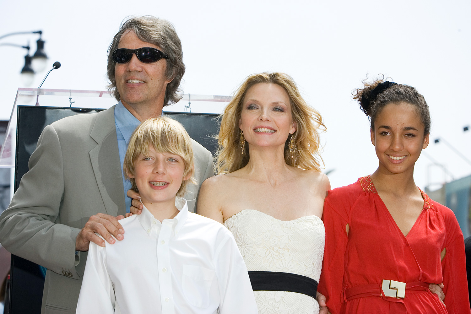 Actress Michelle Pfeiffer with her husband David E. Kelley and children John and Claudia at the star ceremony for Pfeiffer on the Hollywood Walk of Fame.