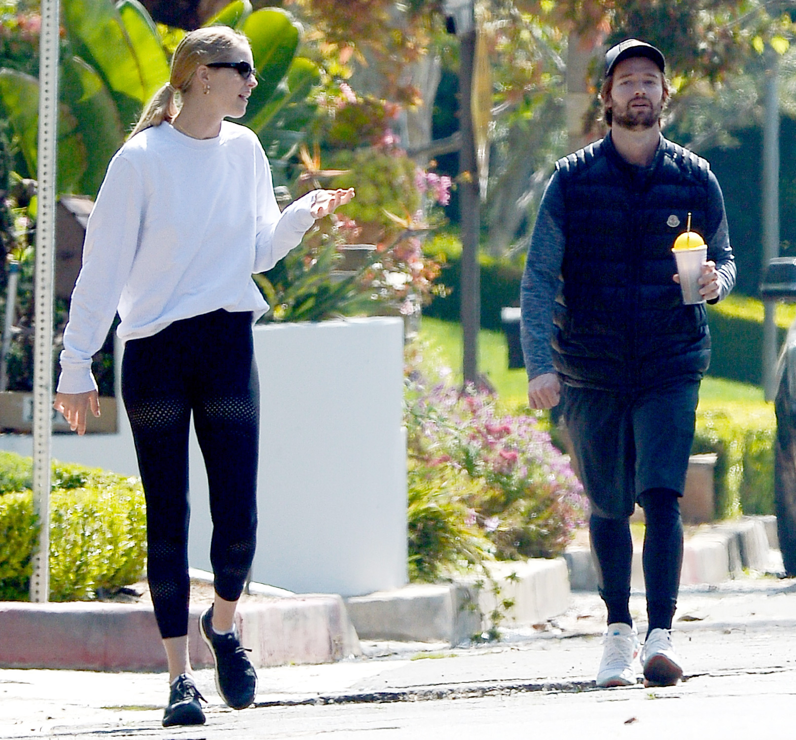 Patrick Schwarzenegger and Girlfriend Abby Champion go for a Walk During Mandatory Quarantine in California.