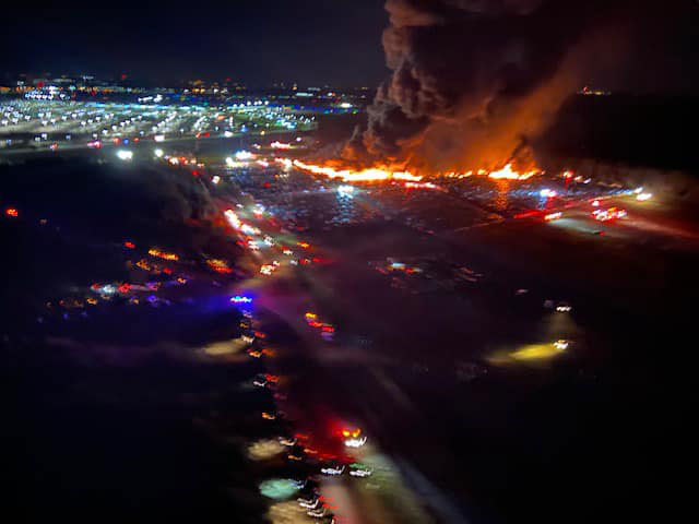 Fire outside of the airport in Fort Myers, FL