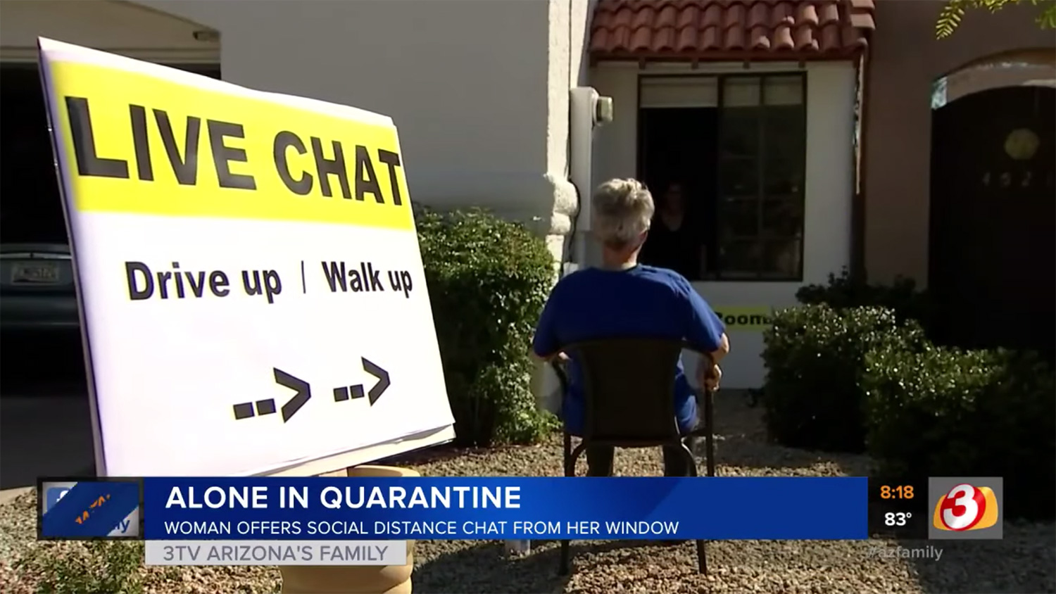 Arizona Woman Creates In-Person 'Chat Room' Outside Window: 'Everybody Needs Human Connection'