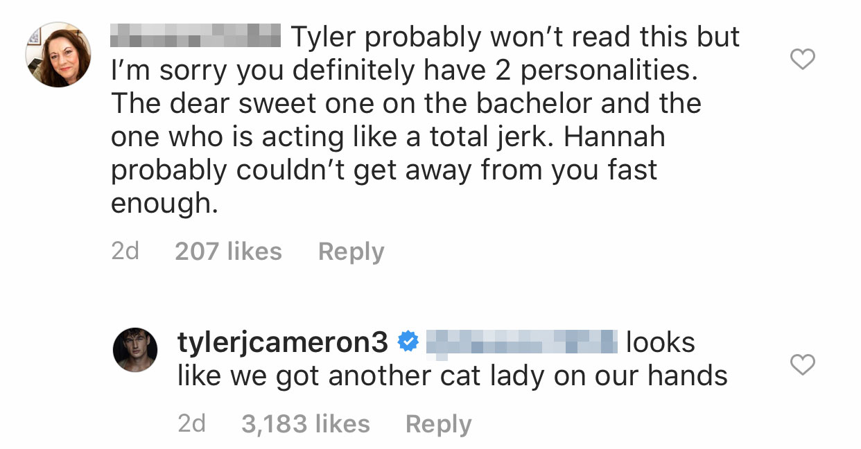 Tyler Cameron comment