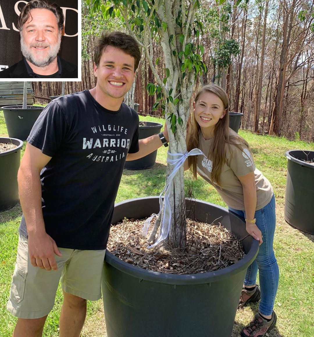 Bindi Irwin with Russell Crowe's plant