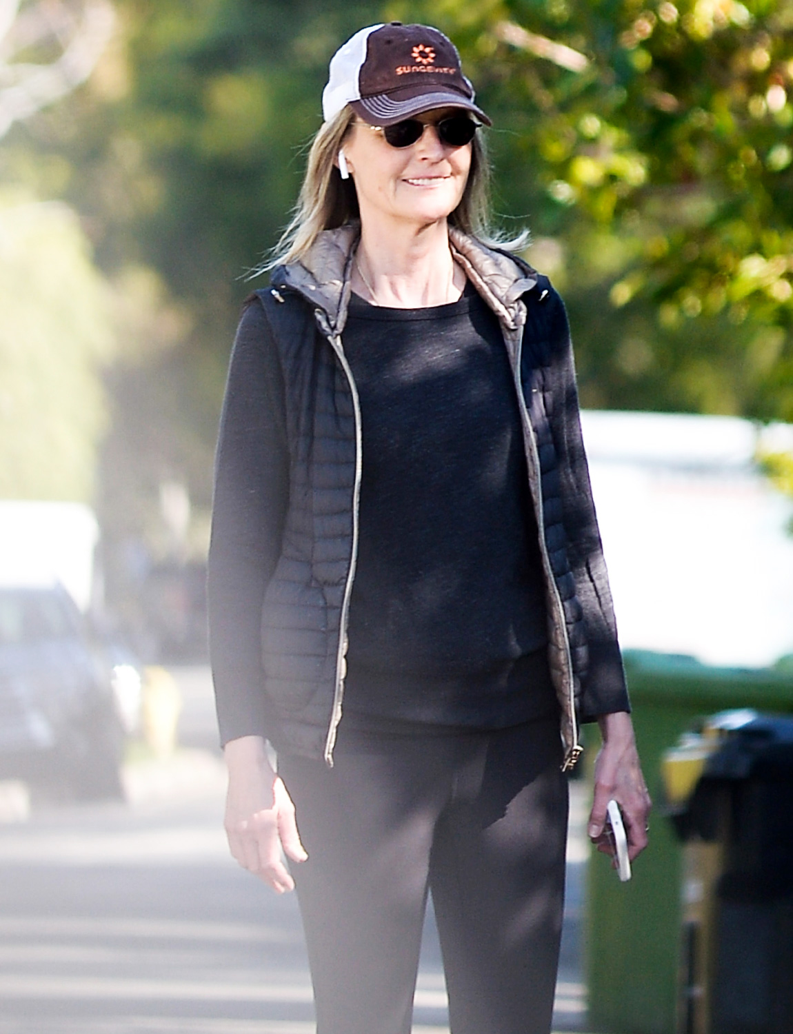 Helen Hunt Goes for a Walk During the Mandatory Quarantine in California.