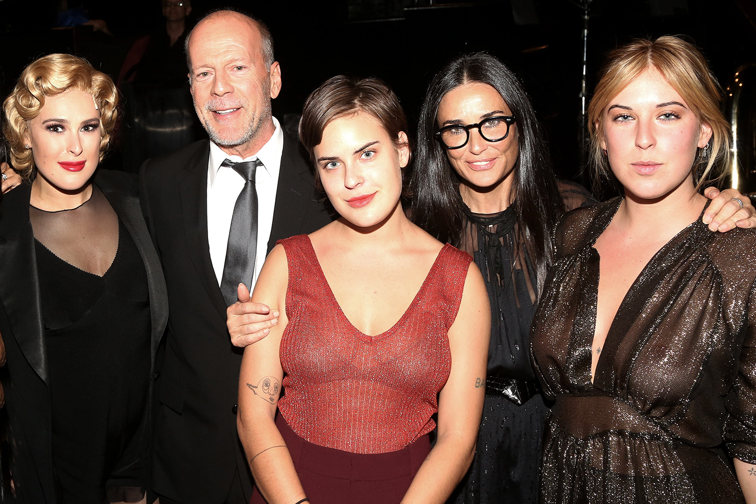 Rumer Willis, father Bruce Willis, sister Tallulah Belle Willis, mother Demi Moore and sister Scout LaRue Willis