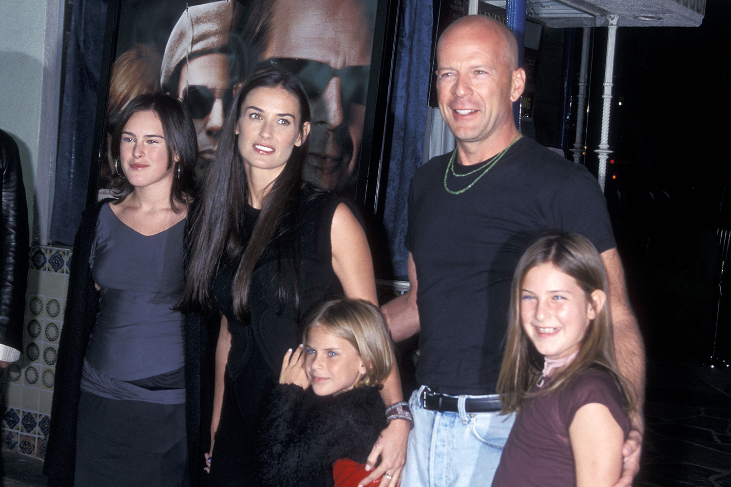 Demi Moore, actor Bruce Willis and daughters Rumer Willis, Tallulah Willis and Scout Willis