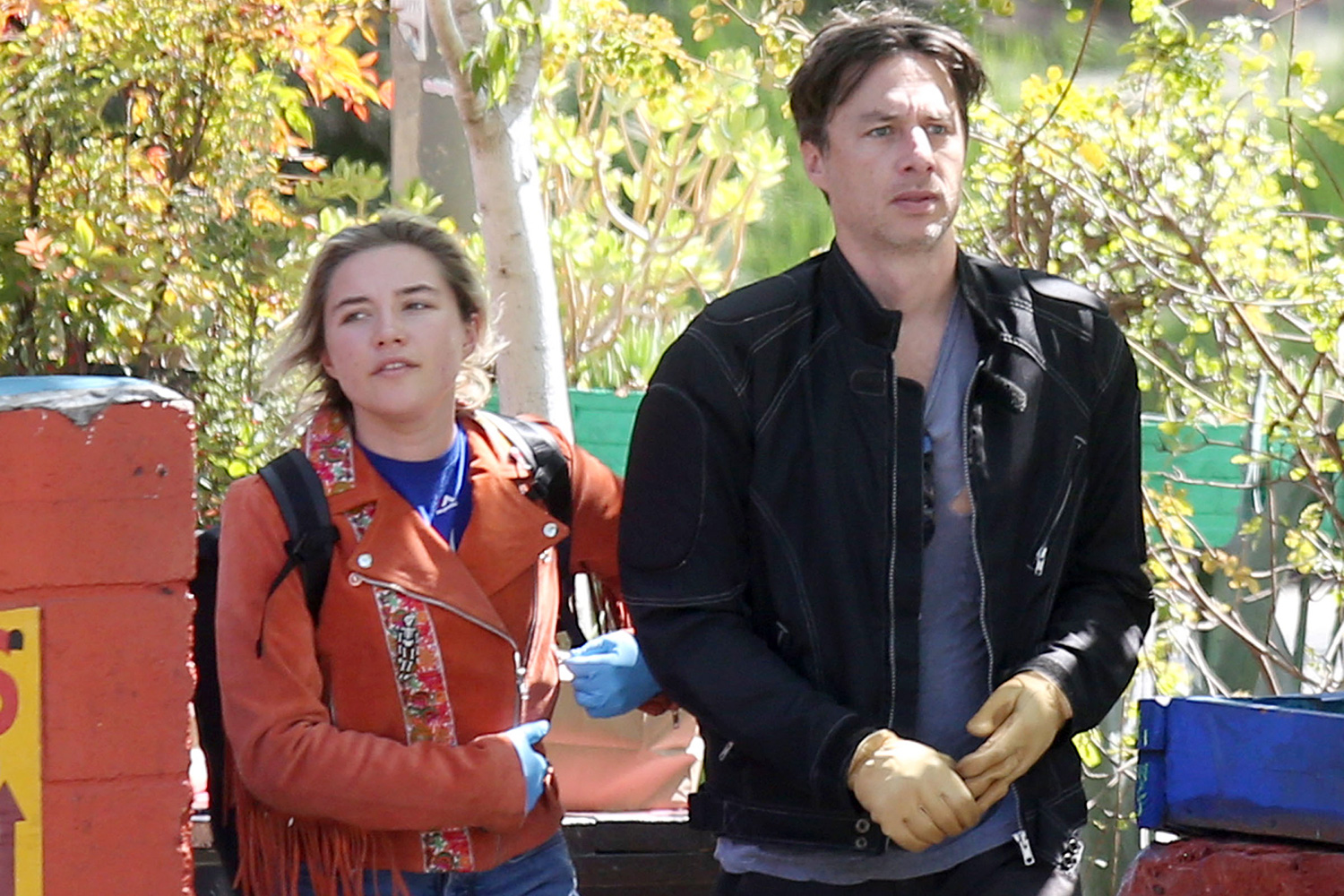 Florence Pugh And Zach Braff Take A Bike Ride To Pick Up Some Essentials During The Los Angeles Lockdown To Help Fight The Spread Of The Coronavirus Pandemic