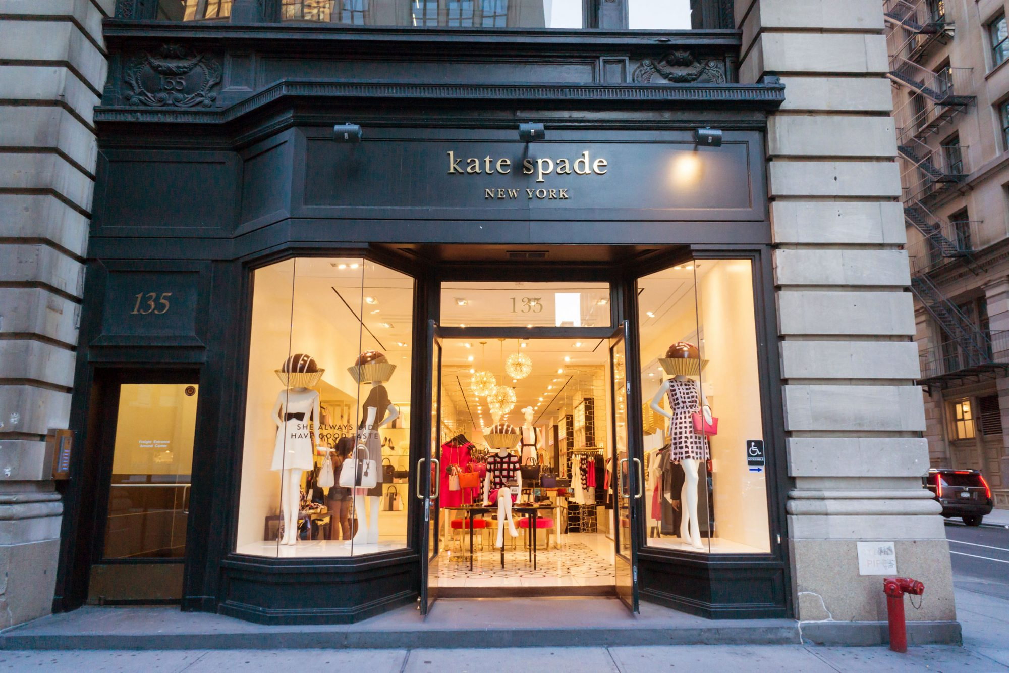 File image: A Kate Spade store on Fifth Avenue in the Flatiron neighborhood of New York on Tuesday, August 4, 2015. Kate Spade & Co. reported sales increased 5.7% but were below analysts' expectations. The company has sold off and closed brands to concent