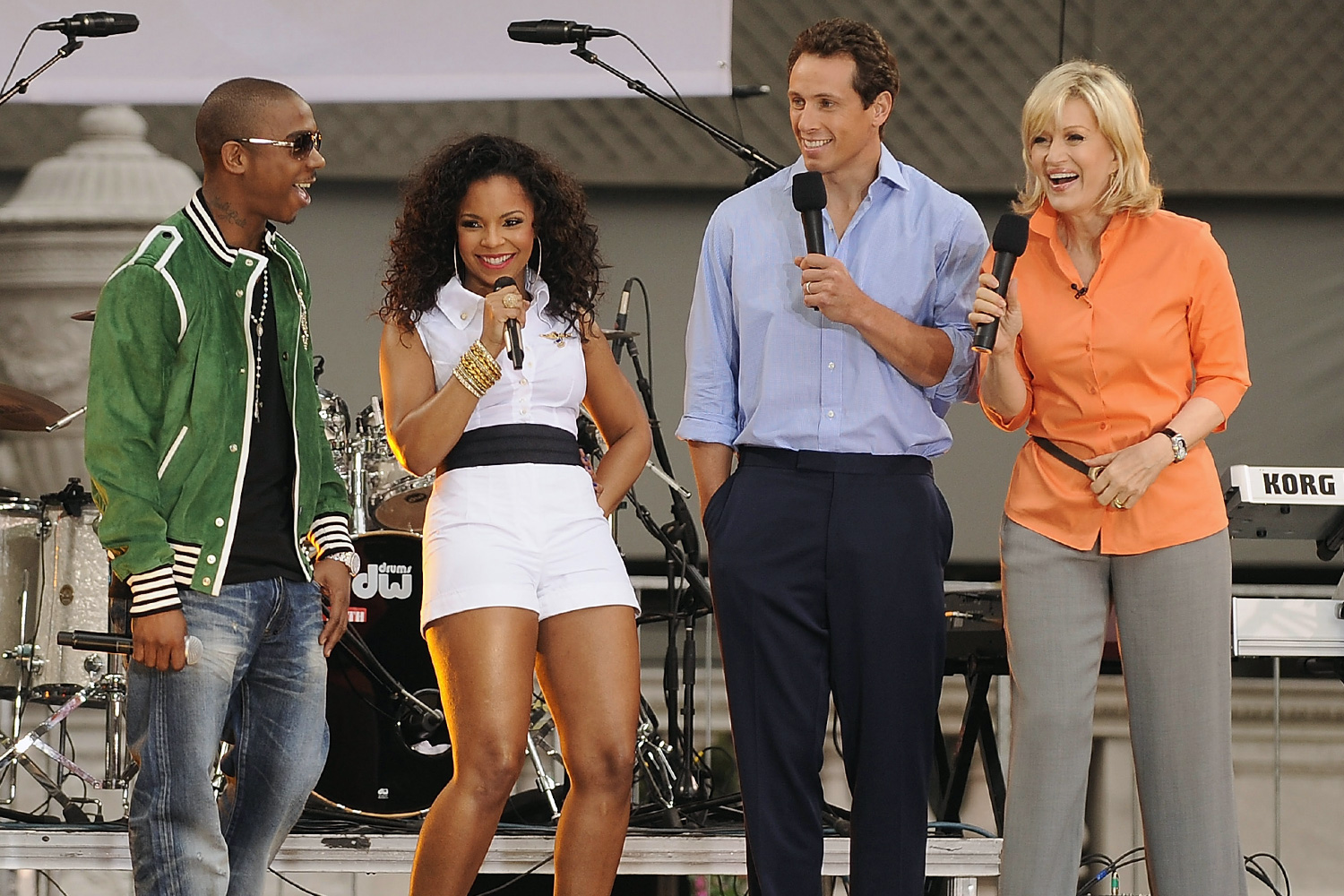 """Ja Rule, Ashanti, Chris Cuomo and Diane Sawyer attend ABC's """"Good Morning America"""" show on June 6, 2008 at Bryant Park in New York"""