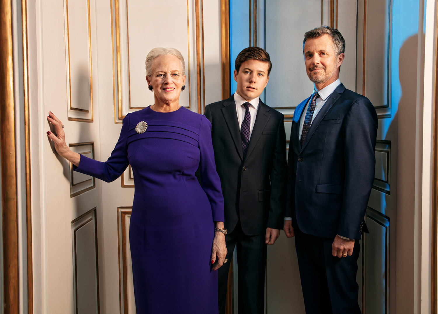 The Queen together with His Royal Highness The Crown Prince and His Royal Highness Prince Christian.