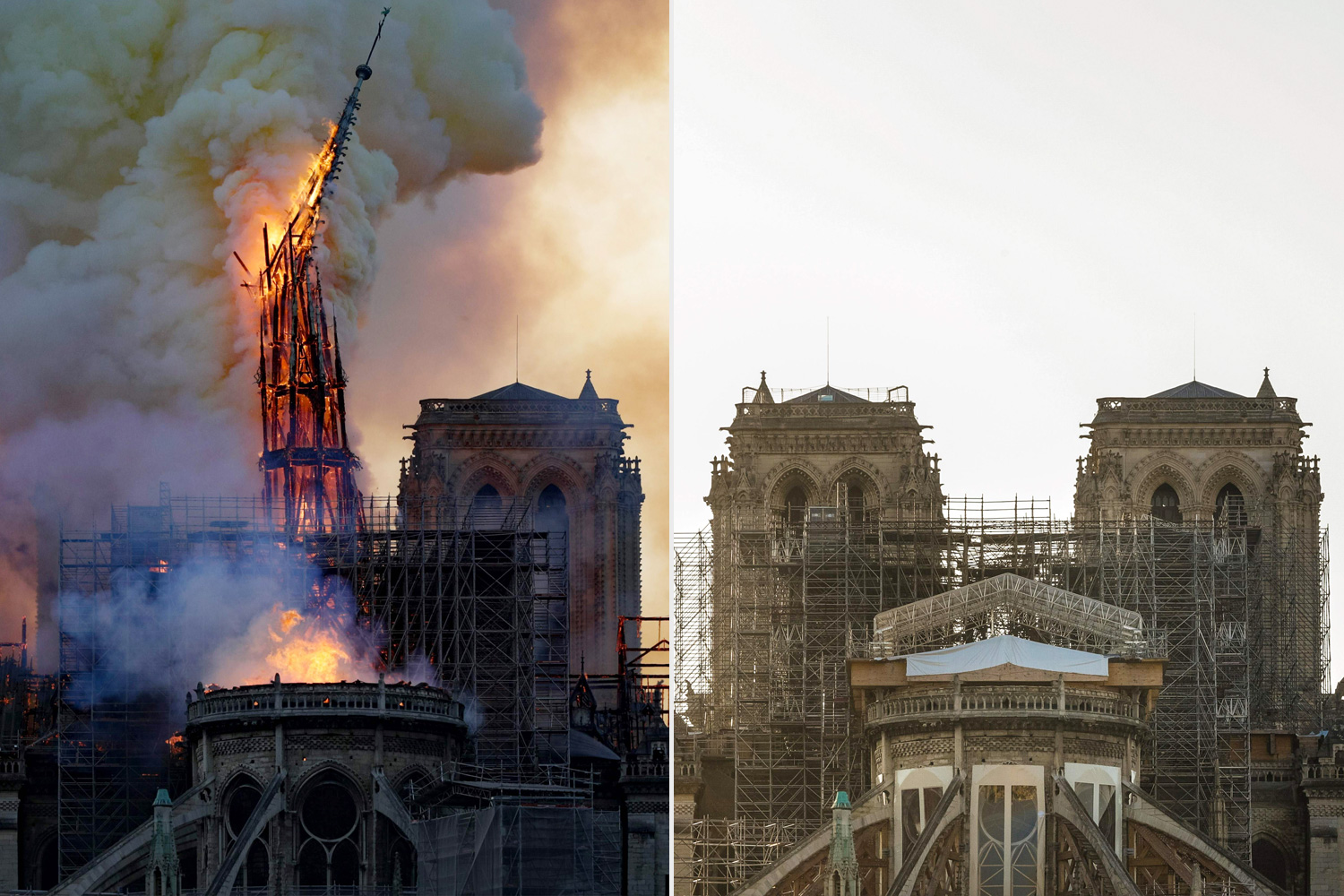 This combination of two pictures shows (top) the spire of the Notre-Dame Cathedral in central Paris collapsing as a major fire broke out at the landmark on April 15, 2019, and (down) the same view of the cathedral one year after, on April 13, 2020, during a lockdown in France aimed at curbing the spread of the COVID-19 pandemic, caused by the novel coronavirus