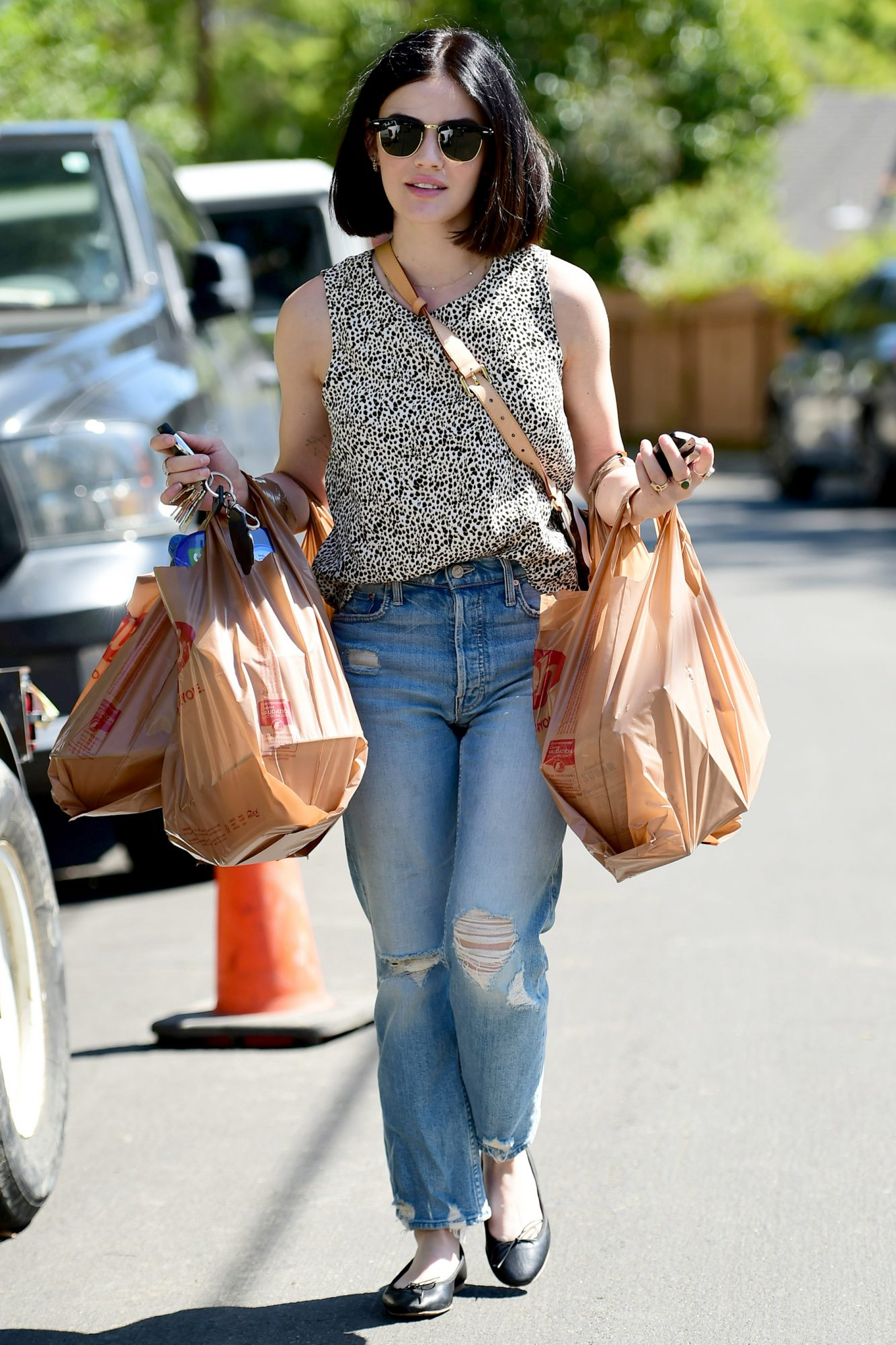 Lucy Hale Loads Up on Groceries in Los Angeles.
