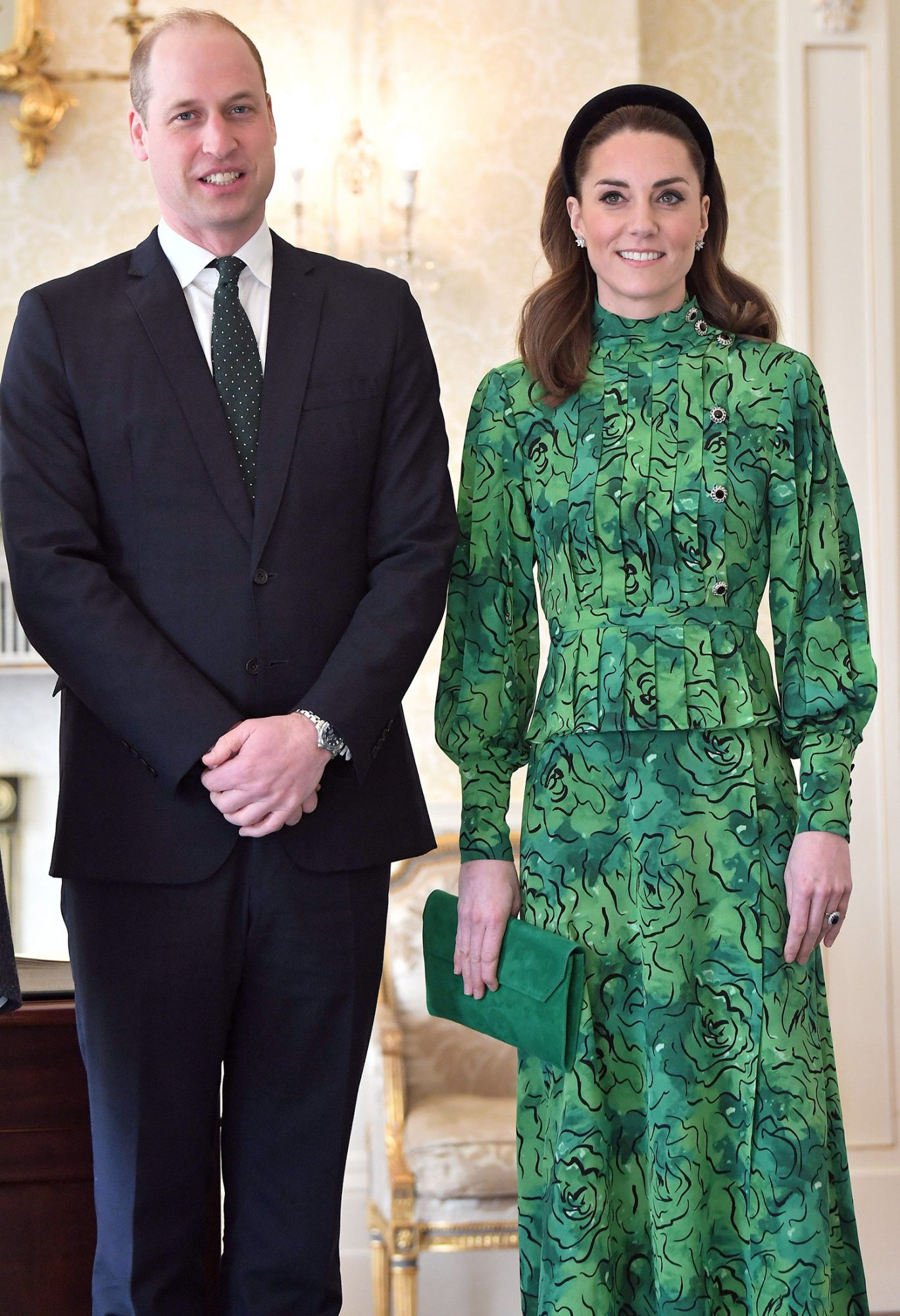 Prince William, Duke of Cambridge and Catherine, Duchess of Cambridge arrive for a meeting with the President of Ireland at Áras an Uachtaráin on March 03, 2020 in Dublin, Ireland