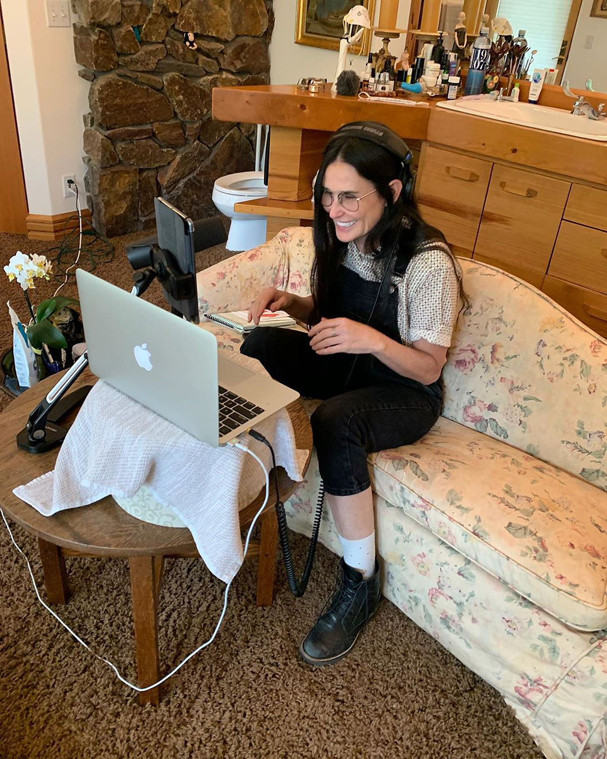 """The Inside Out author uses her bathroom for more than just the standard activities - she's also been using it to record her new podcast series! The actress shared this photo of herself sitting on a white, floral couch (yes, she has a couch in her bathroom) and wrote, """"Excited to finally share what I've been working on! First episode of#DirtyDiana drops Monday, July 13."""""""