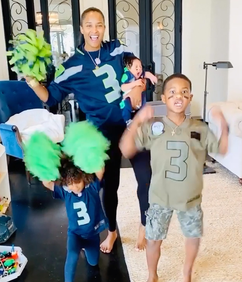 """The singer and her three kids -Win Harrison, 1 month, Sienna Princess, 3, and Future Zahir, 6 - cheered on her football player husband, Russell Wilson, as he kicked off his ninth season as the quarterback of the Seattle Seahawks on Sunday.                             """"Bringing the stadium energy to the house! 💃🏽 #Gohawks!!"""" she wrote."""
