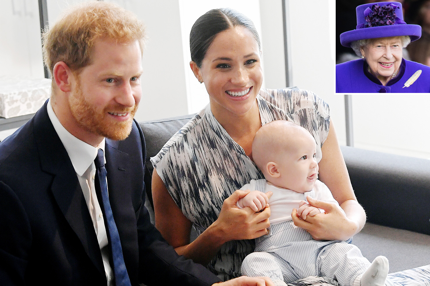Prince Harry, Duke of Sussex, Meghan, Duchess of Sussex and their baby son Archie Mountbatten-Windsor Queen Elizabeth II