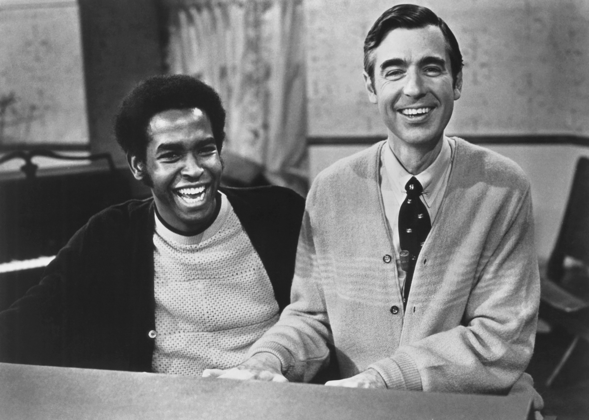 MISTER ROGERS' NEIGHBORHOOD, from left: Francois Clemons, Fred Rogers, 1972 photo, 1966-2001
