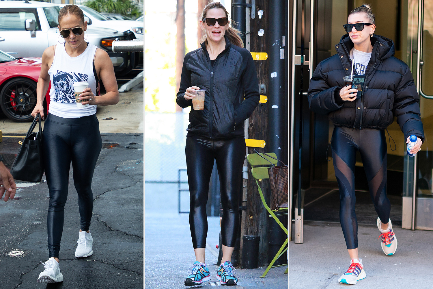 jennifer lopez; jennifer garner; hailey bieber; koral leggings