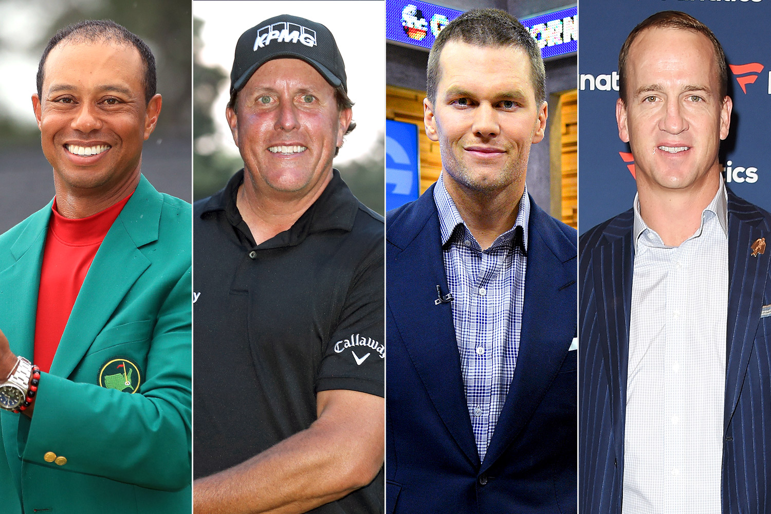 Tiger Woods, Phil Mickelson, Tom Brady and Peyton Manning