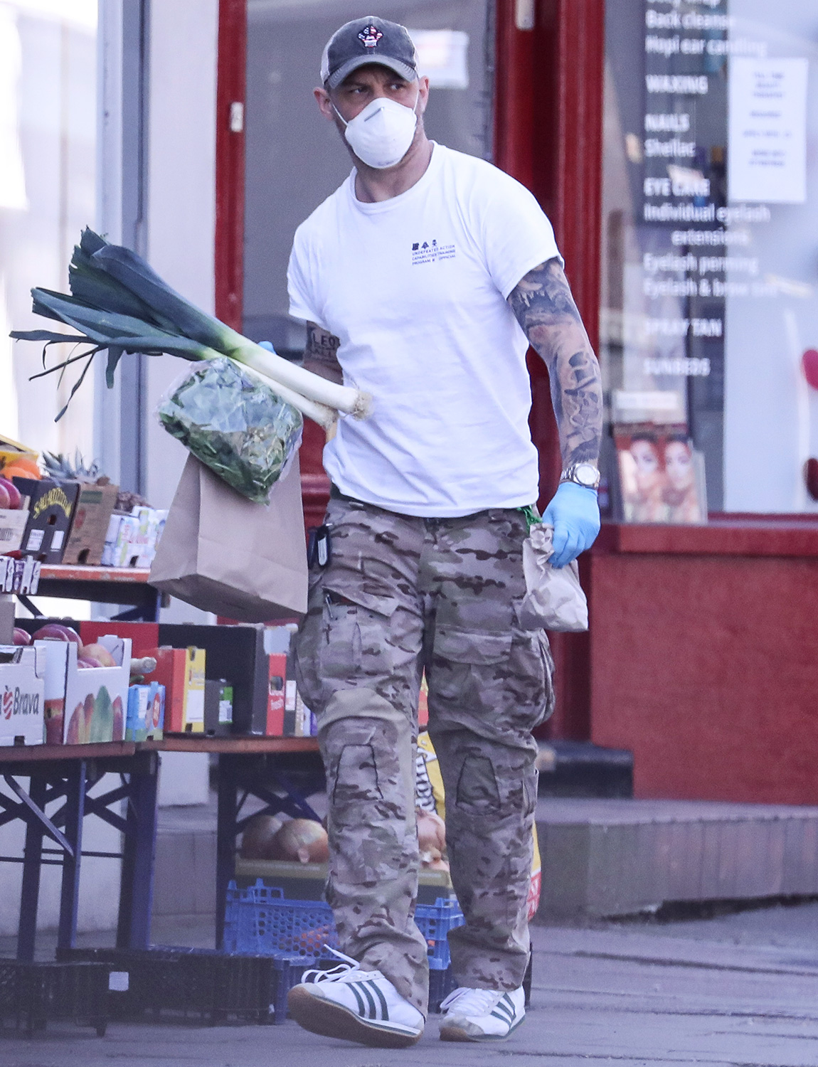Tom Hardy Shops For Vegetables In West London
