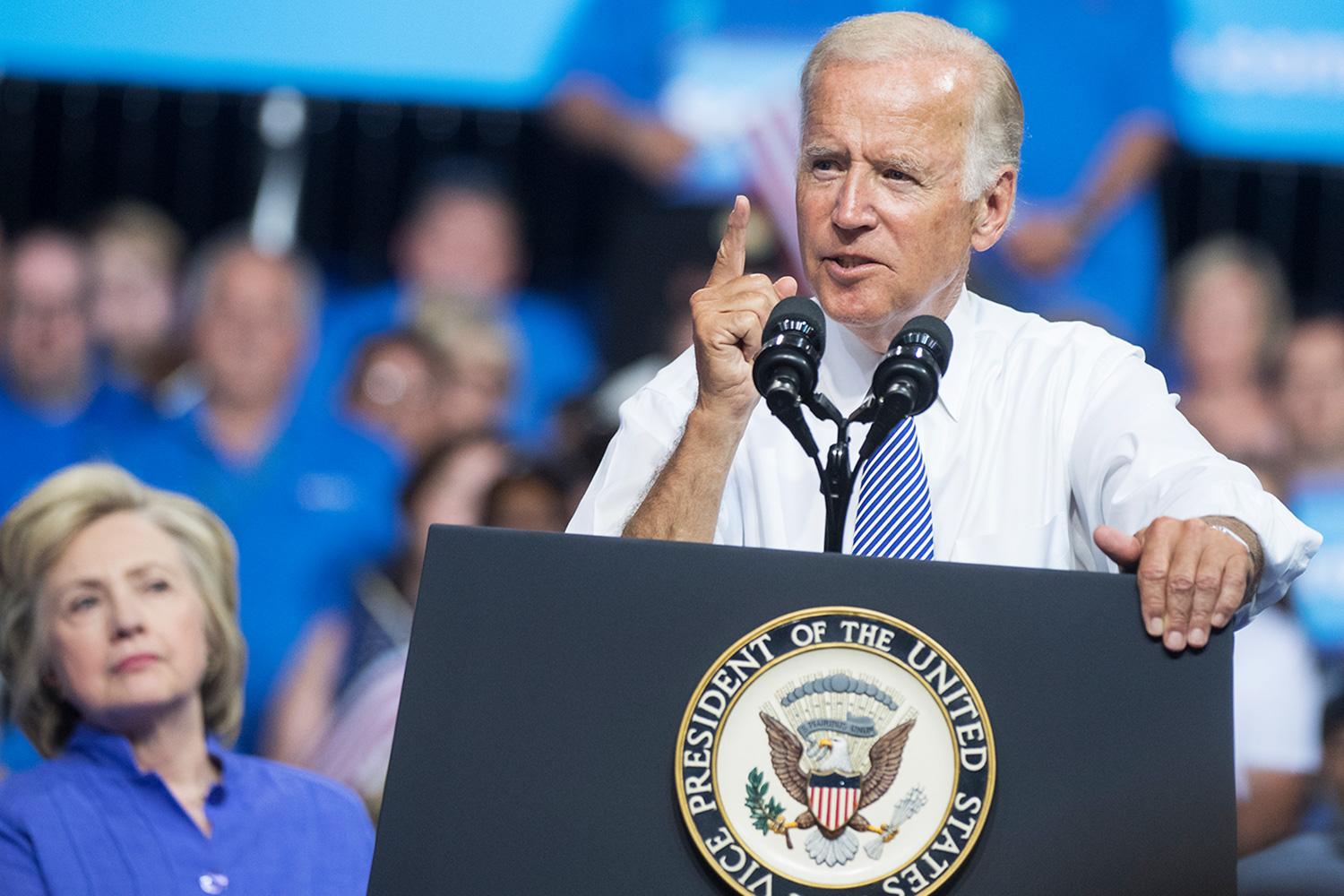 Vice President Joe Biden and Democratic presidential nominee Hillary Clinton