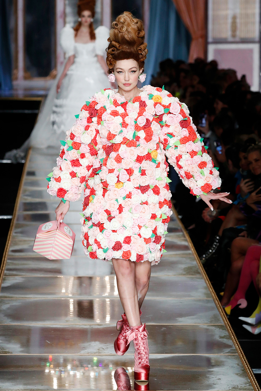 Gigi Hadid walks the runway during the Moschino fashion show as part of Milan Fashion Week Fall/Winter 2020-2021 on February 20, 2020 in Milan, Italy