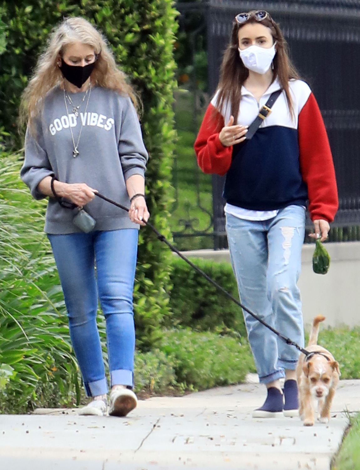 Lily Collins out with her mom in Beverly Hills