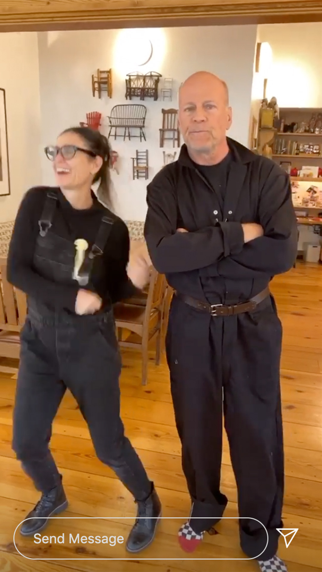 Demi Moore and Bruce Willis dance together while social distancing with their daughters https://www.instagram.