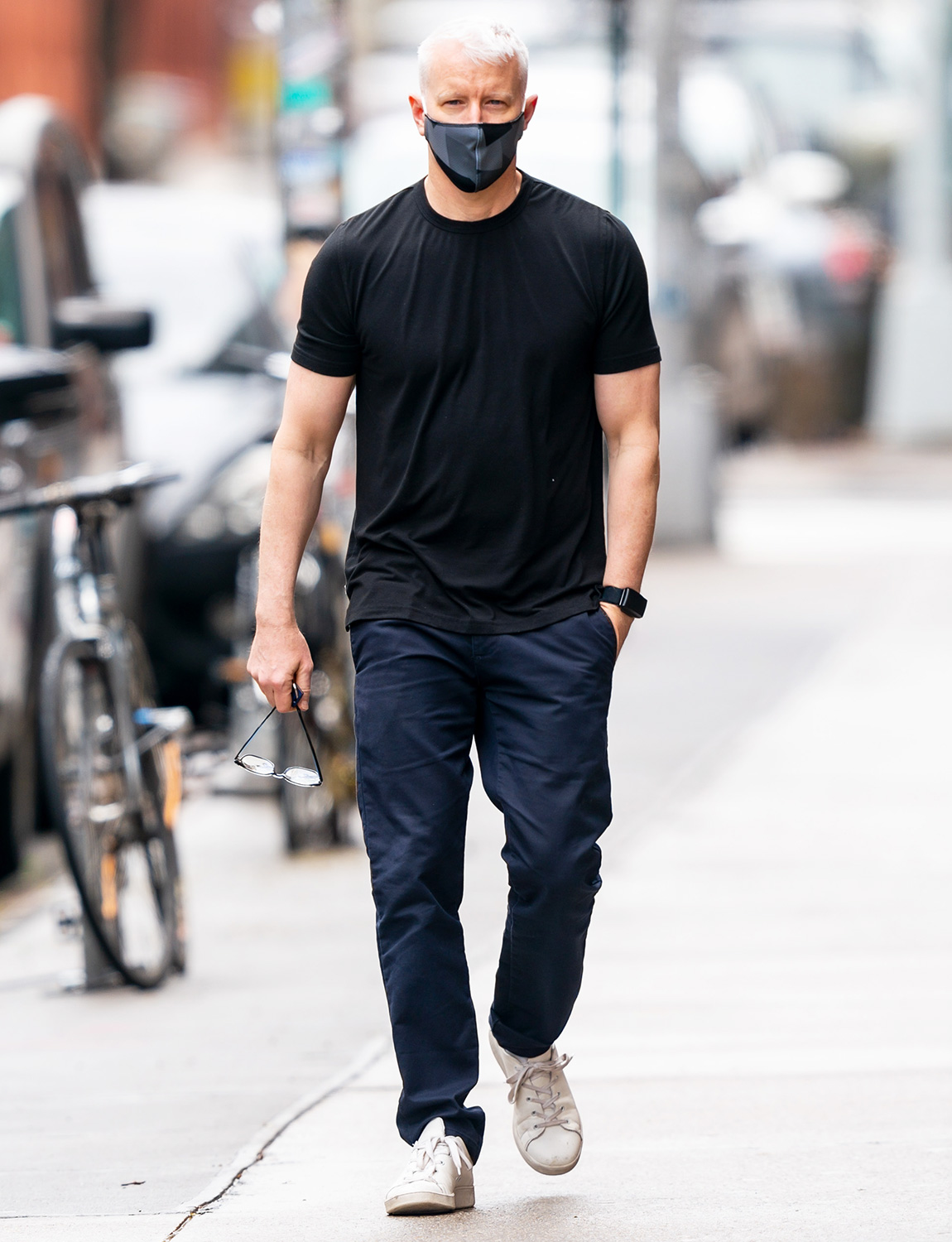 Anderson Cooper is seen in the West Village on May 01, 2020 in New York City