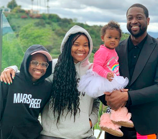 Gabrielle Union and Dwyane Wade with family