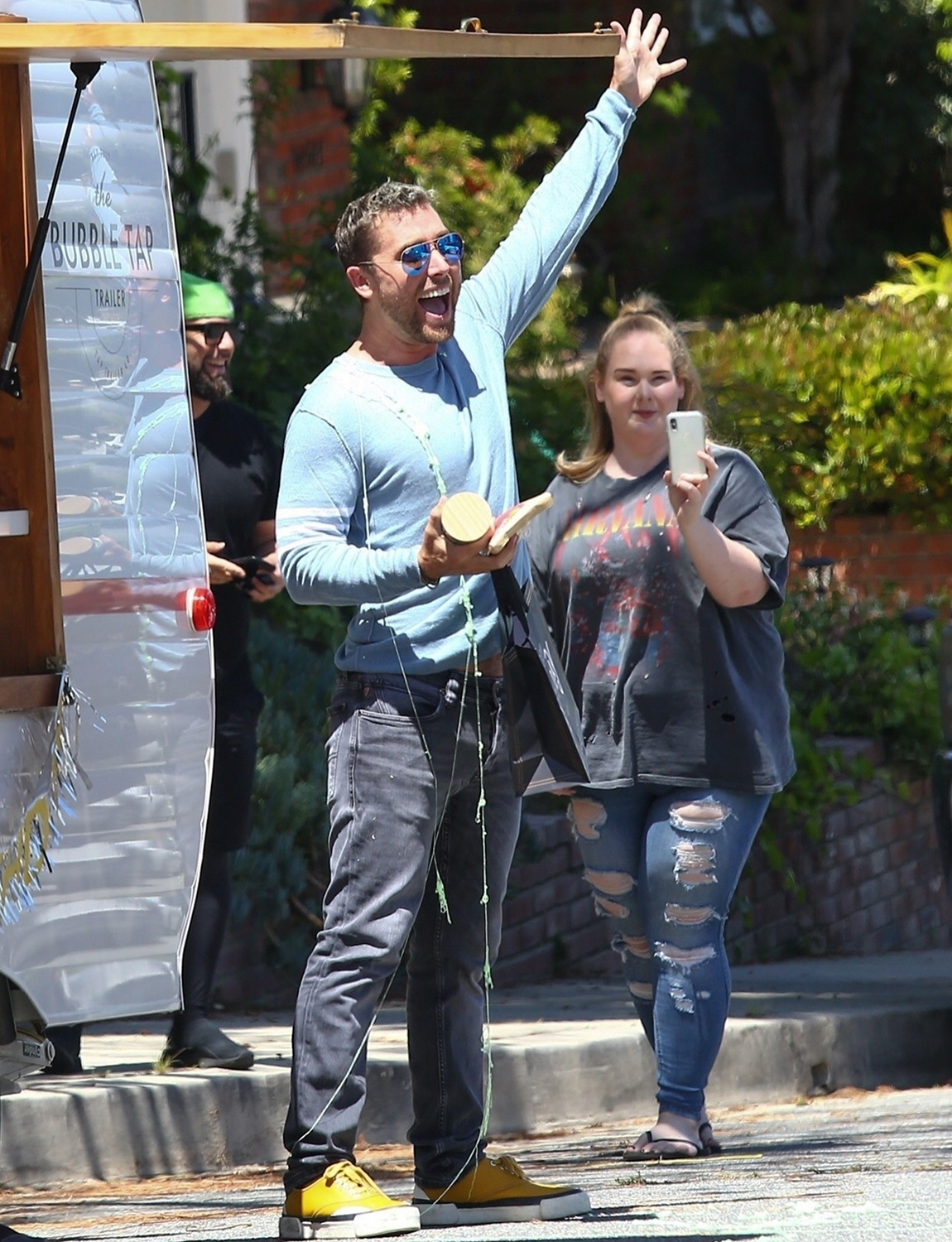 Lance Bass celebrates his 41st with a drive-by birthday party with Michael Turchin and friends